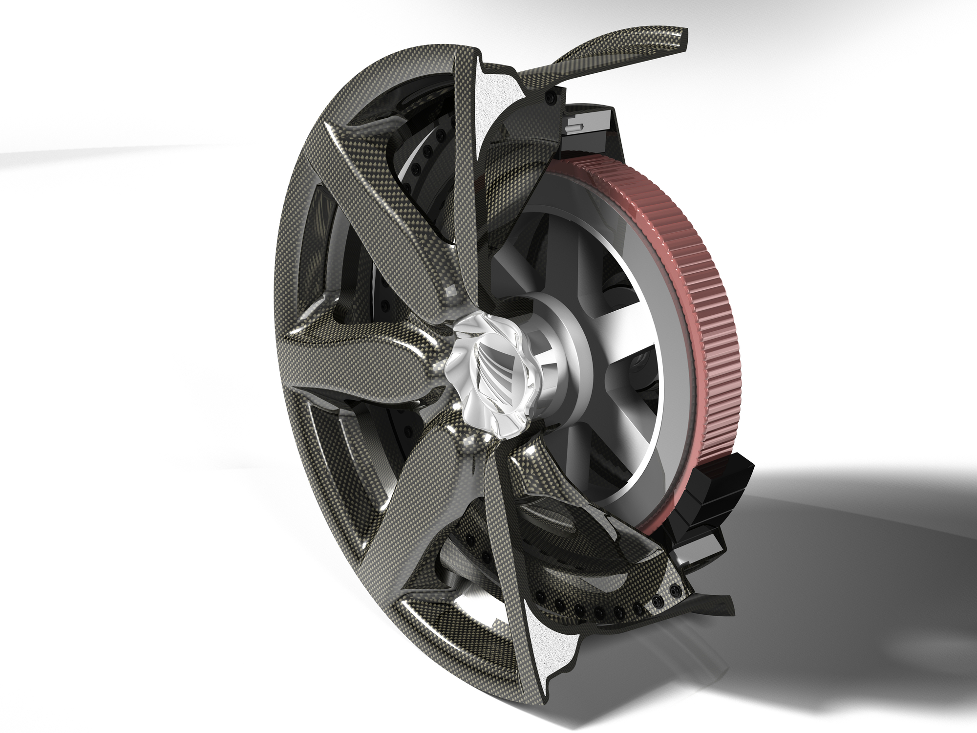 Composite Fiber Wheel With Integrated Electric Motor